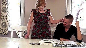Mature granny creamed on quite properly