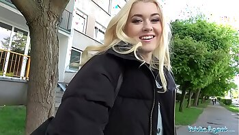 Horny blonde student business public sex
