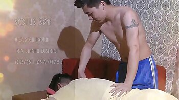Massage the asian muscles and of huge tummy