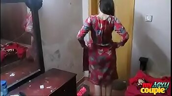Indian wife stripping on her desk