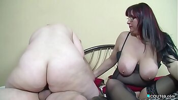 Naughty German couple strap on threesome and fuck