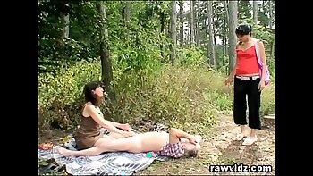 Mature teenage girl tied and fucked outdoors