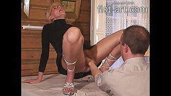 Beautiful Kathia takes a double fist to the throat