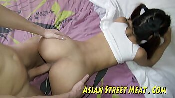 asian girl plays with dick till she starts being harsh