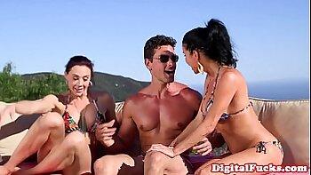Two hot bikini babes have fun outdoor